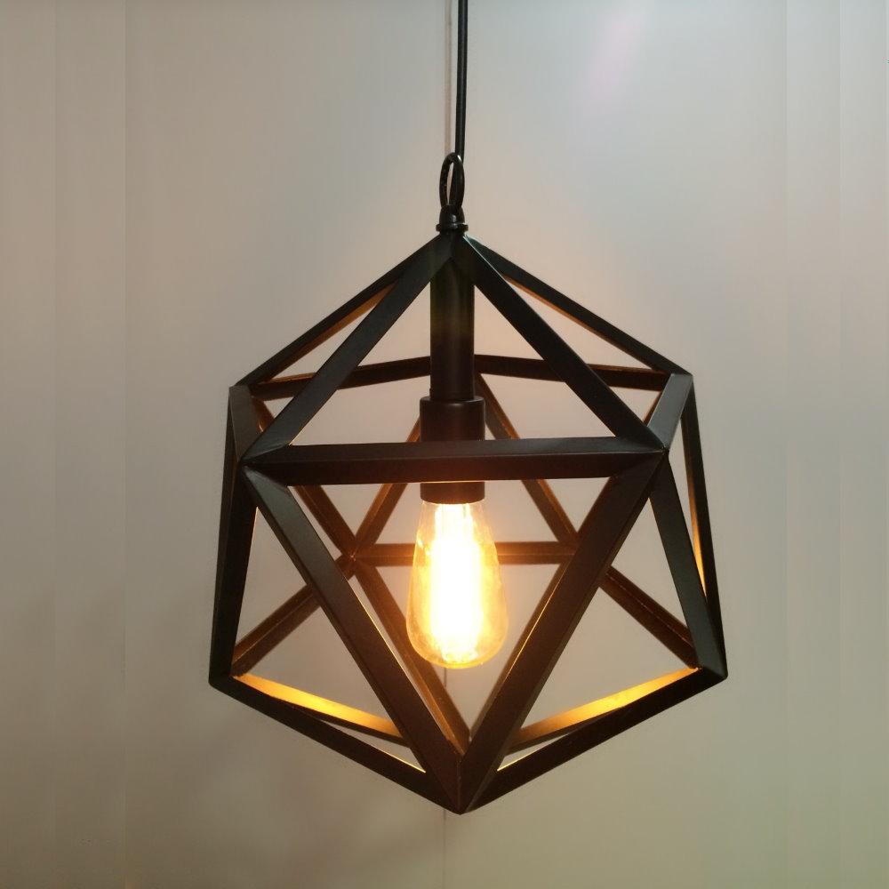 鐵藝幾何黑水晶造型吊燈(PO11601)