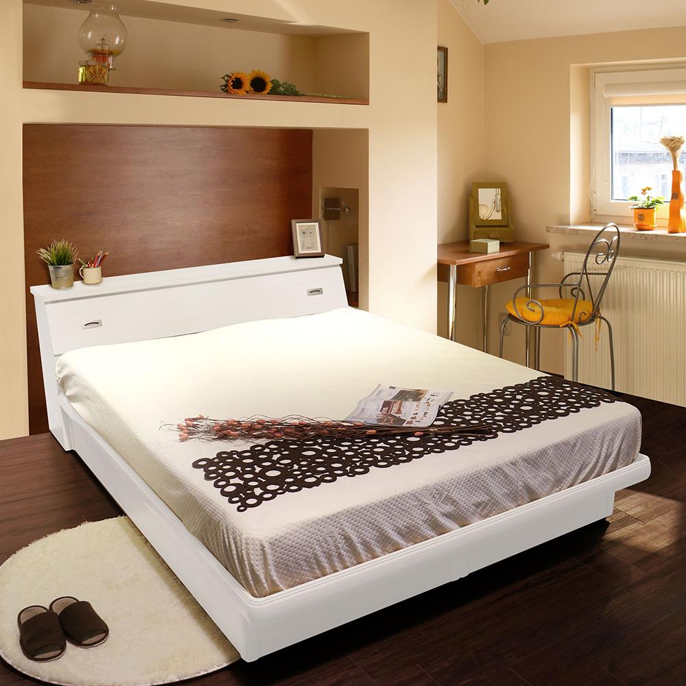 JASON傑森5尺雙人2件組/床頭箱+掀床-白
