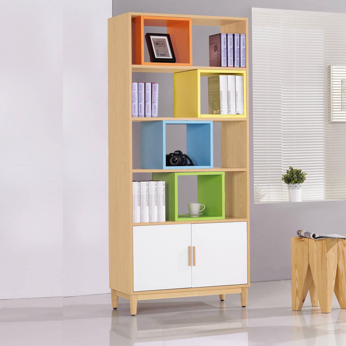 日式木作 繽紛2.7尺栓木本色彩格書櫃