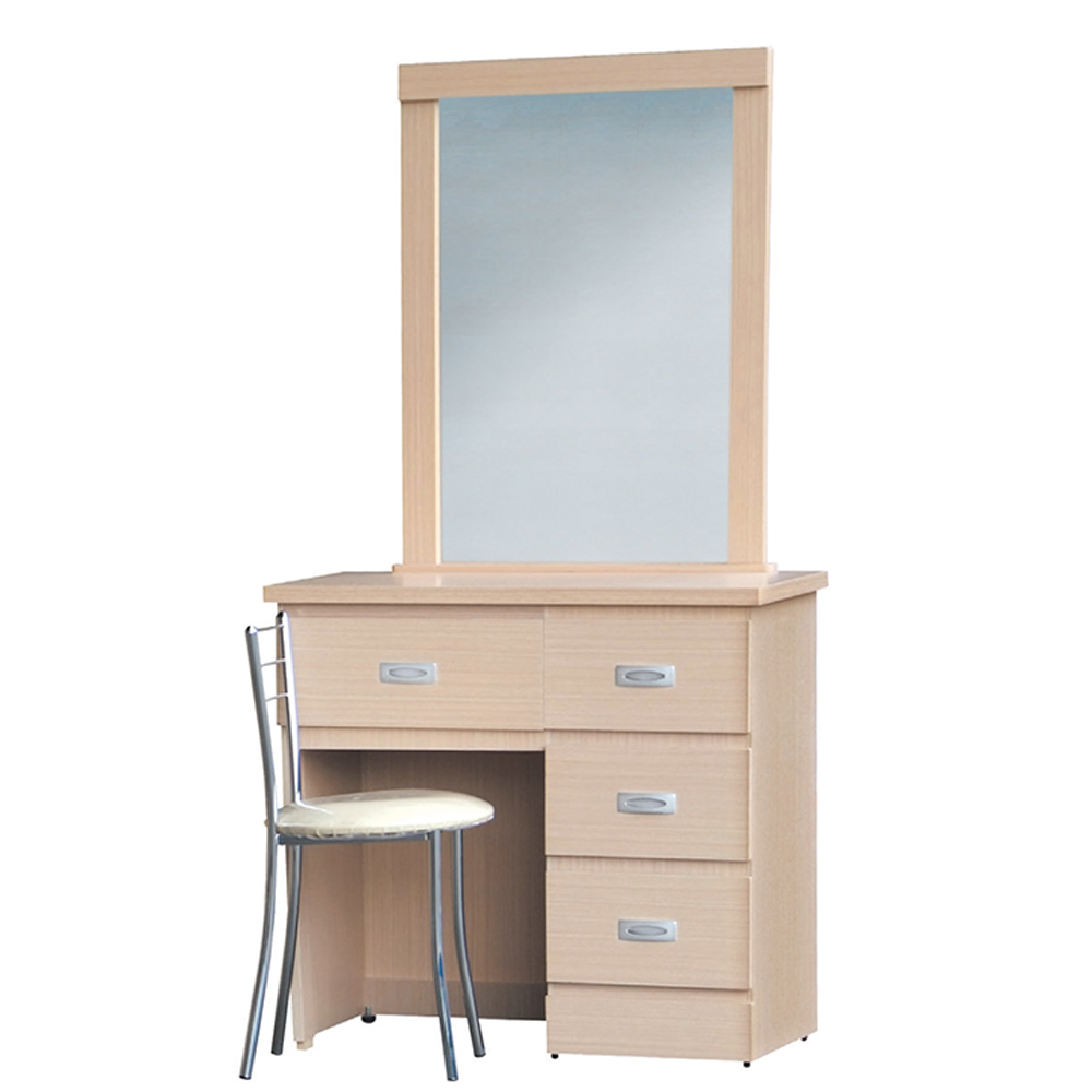 美滿2.7尺洗白化妝鏡台組(含椅)