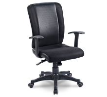 精緻黑色網布扶手電腦椅/辦公椅