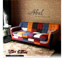 Abel混色拼布亮彩獨立筒三人布沙發