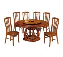 蓮花柚木色餐桌椅組