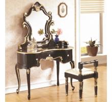 帝國法式黑金色化妝鏡台組(含椅)