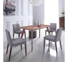 沃納黑胡桃木皮餐桌椅組(1桌4椅)