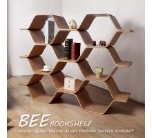 自然木作蜂巢式三層書架