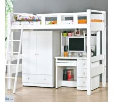 佐伊白色高架床組-含衣櫃+書桌