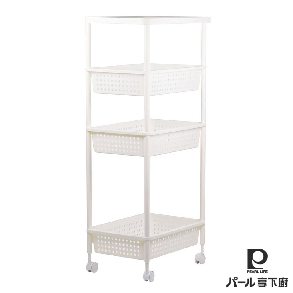日本【Pearl Life享下廚】四層附輪廚房收納架(32cm)