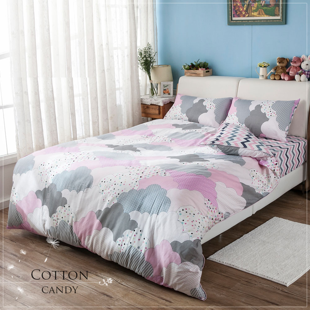 雙人特大床包被套組 100%純棉-【棉花糖】包兩用床包組