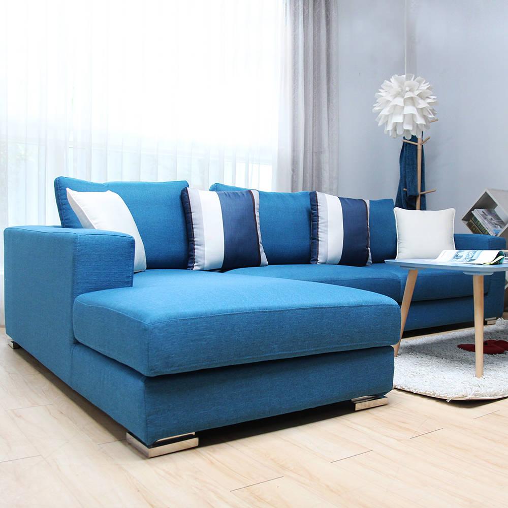 派翠蒂優雅美學L型沙發-藍色