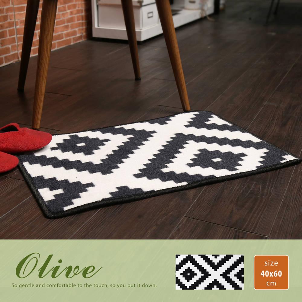 Olive 奥丽芙现代风几何图案短毛地毯(40*60公分)