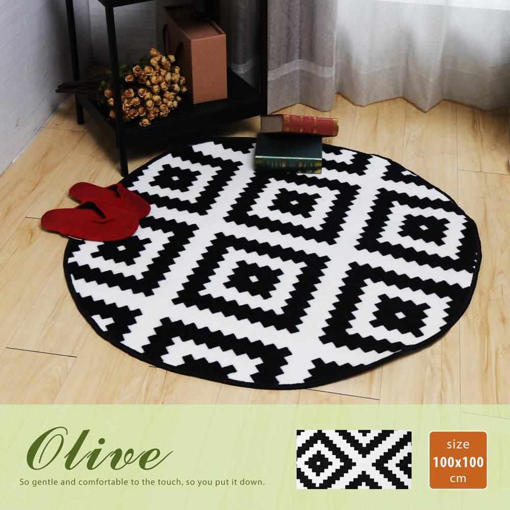Olive 奧麗芙現代風幾何圖案短毛地毯(100*100公分)