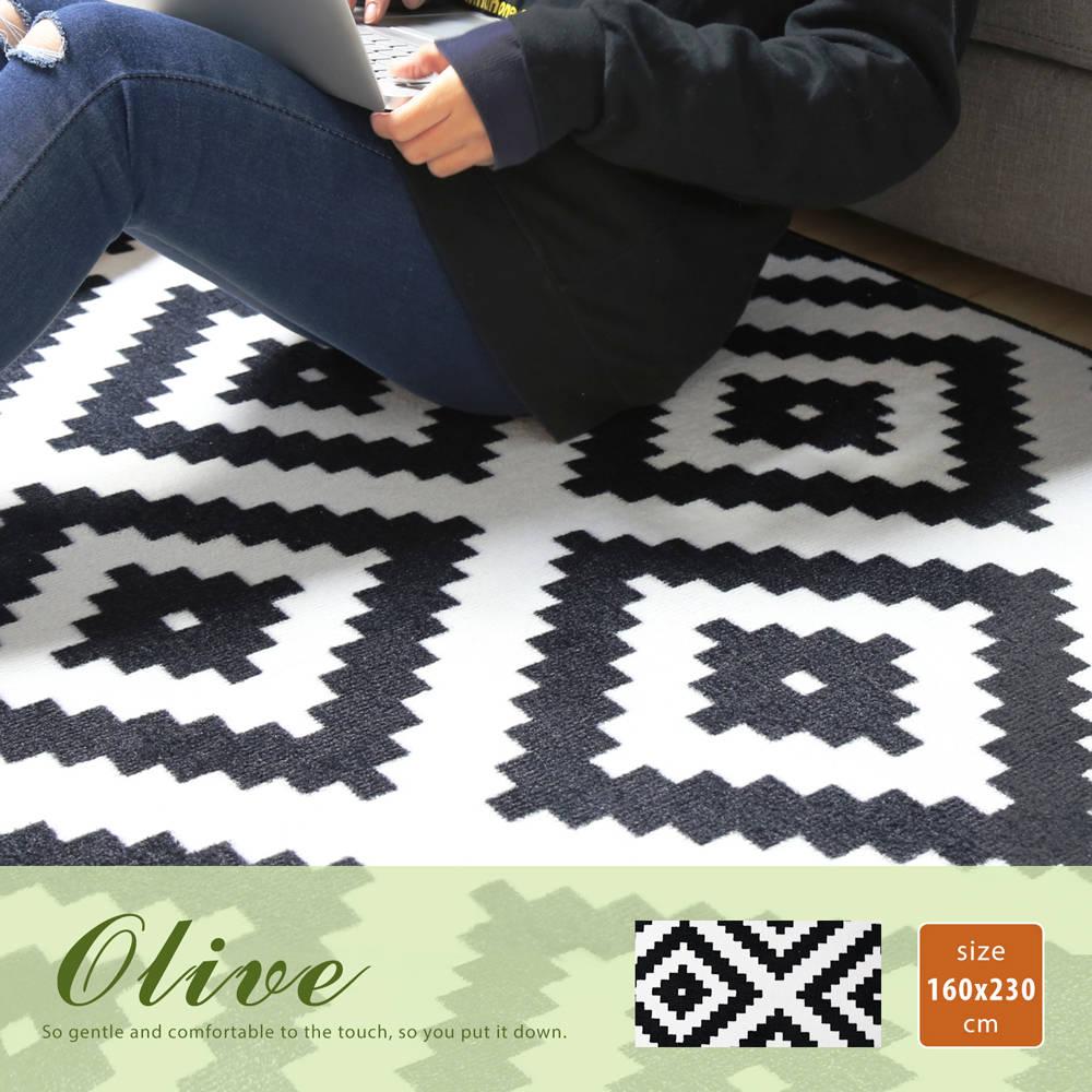 Olive 奥丽芙现代风几何图案短毛地毯(160X230公分)