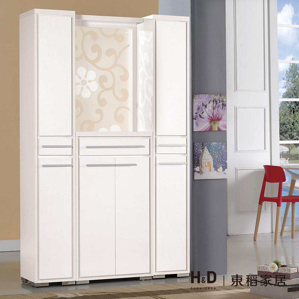 明日香4尺白色屏風鞋櫃(1x6.5尺雙面鞋櫃x2+2x3.6尺鞋櫃+屏風不含底座)