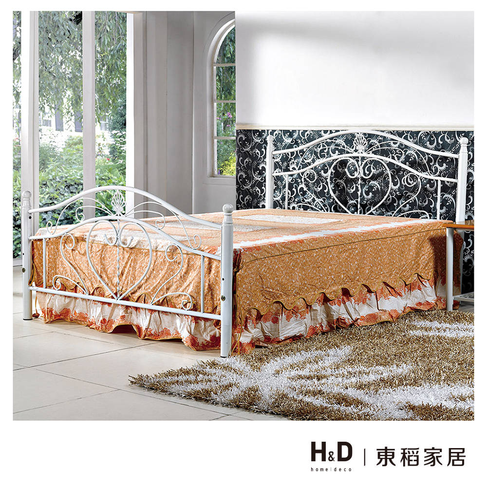 貝兒白色5尺雙人鐵床架