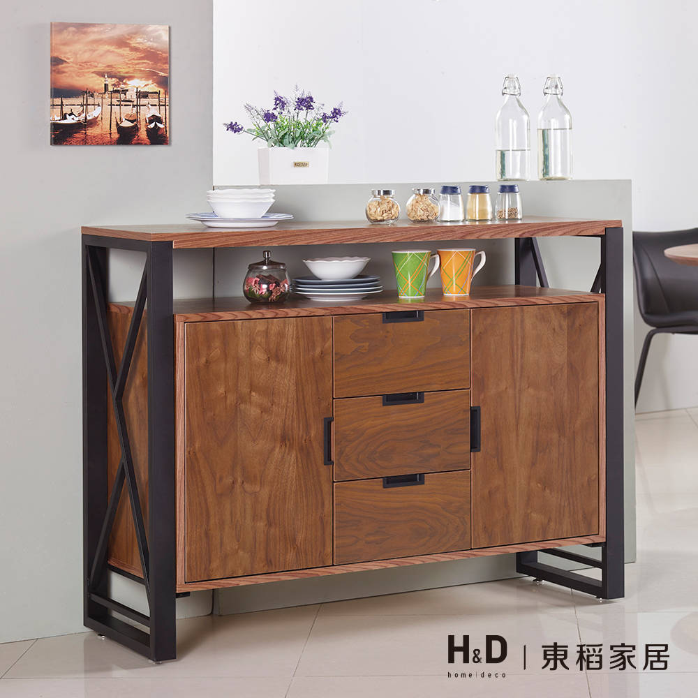 克德曼4尺胡桃餐櫃