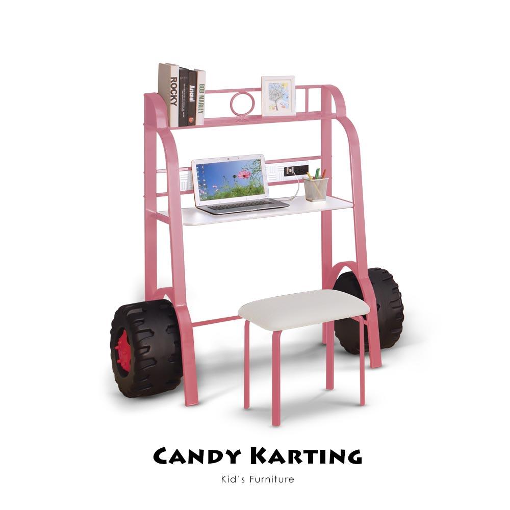 【Kids Neverland】糖果卡丁車加書桌椅組
