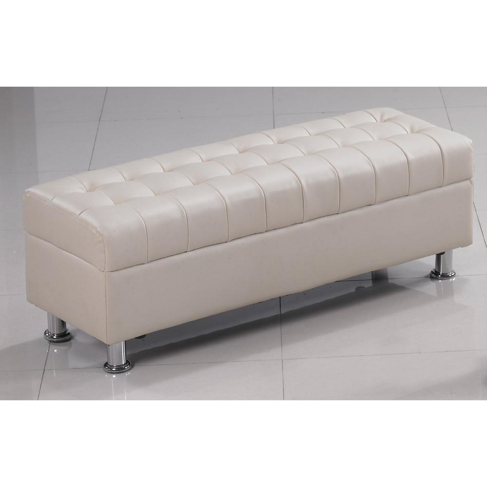 庫倫120米白皮沙發椅凳