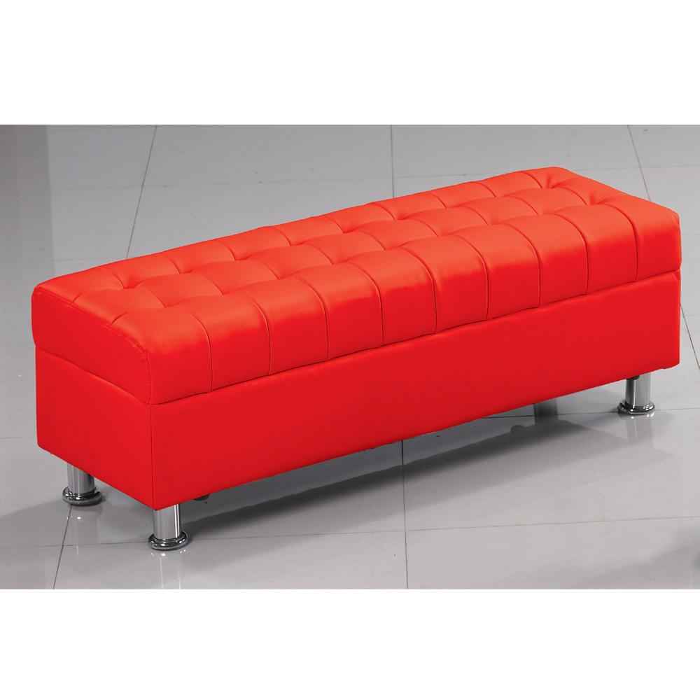 庫倫120紅皮沙發椅凳