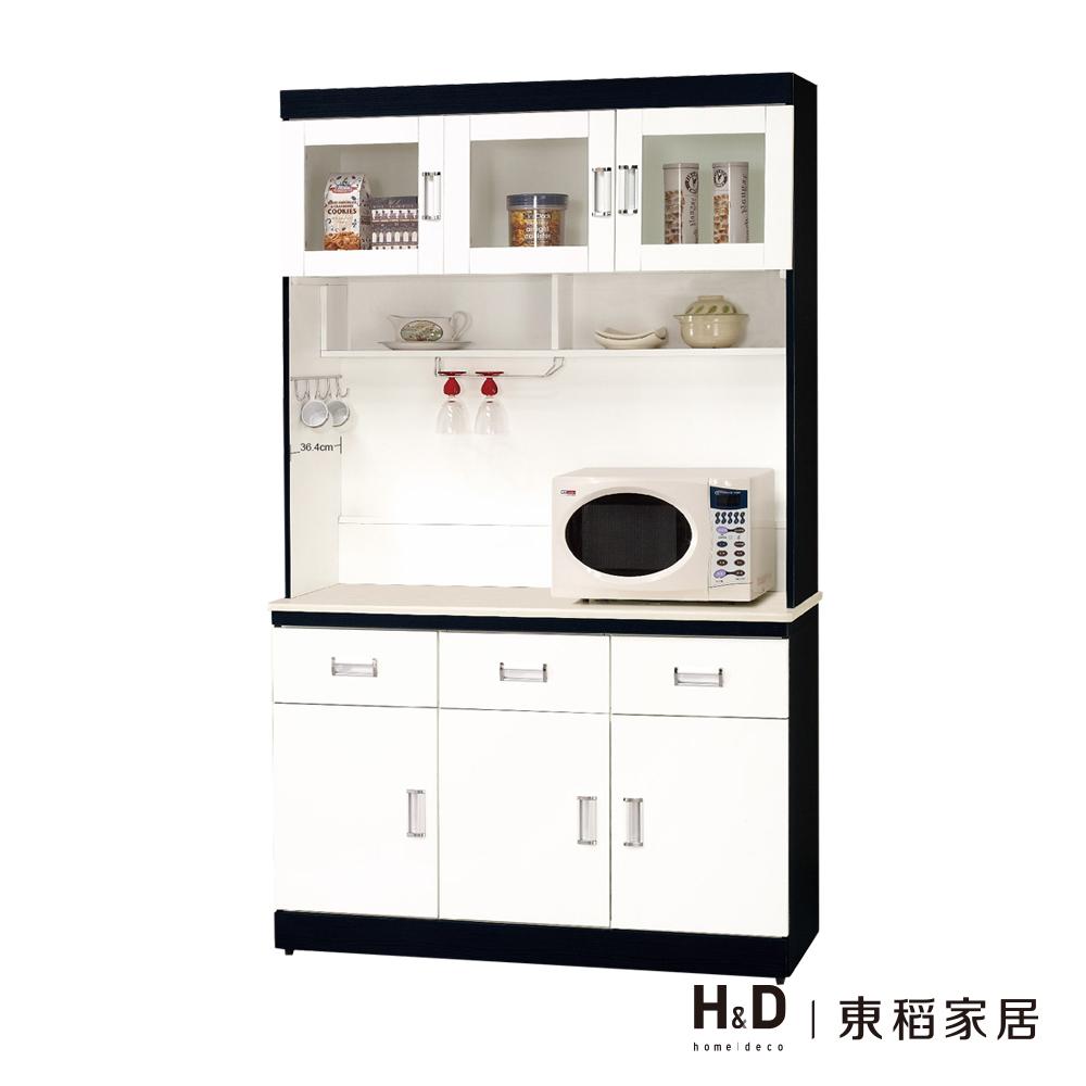 黑白配4尺石面餐櫃/餐櫃組