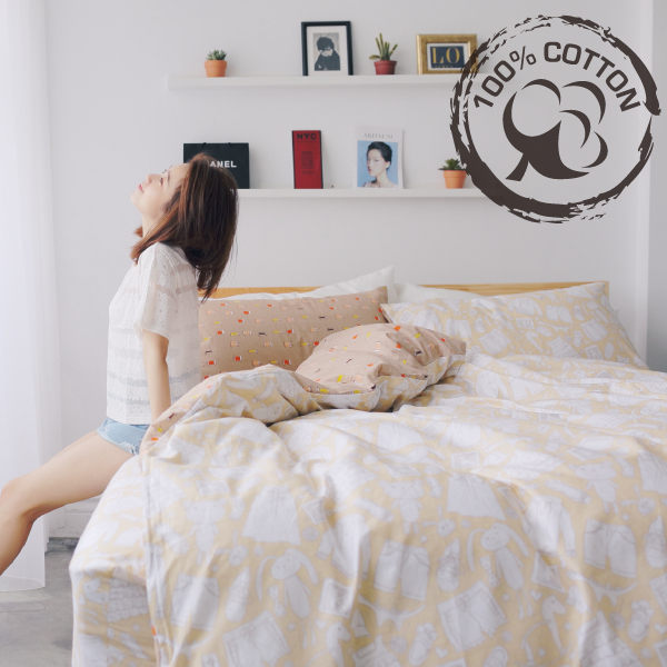 薄被套床包組-加大 [閒時兒趣] 100%精梳棉 ; 紡織;針線;小熊童趣 ; SGS檢驗通過 ; 翔仔居家台灣製