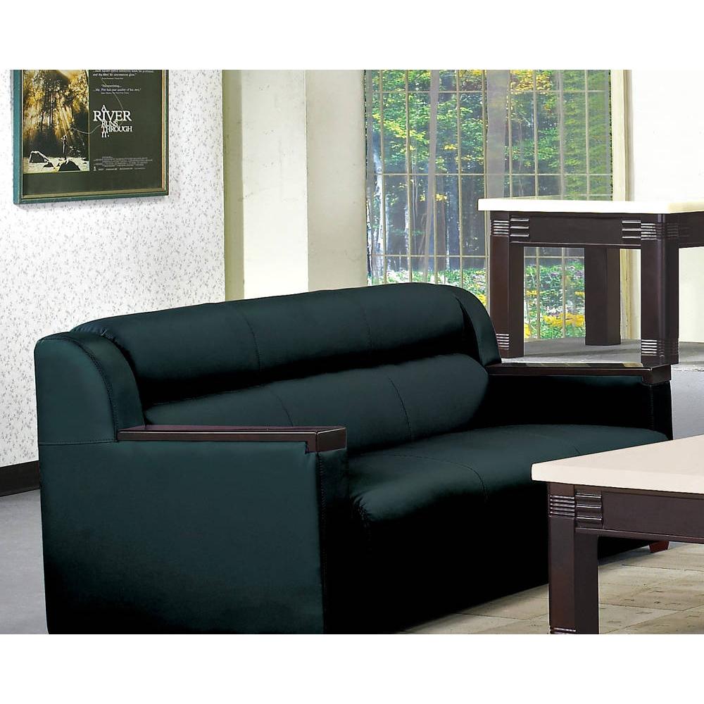 黑色半牛皮沙發三人椅