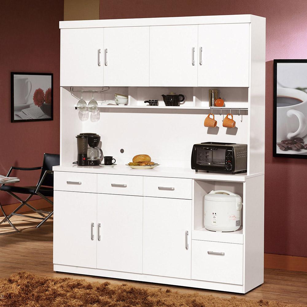 祖迪白色5.3尺碗碟櫃/餐櫃整組