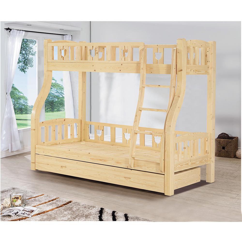 松木紋雙層床架(含子床)