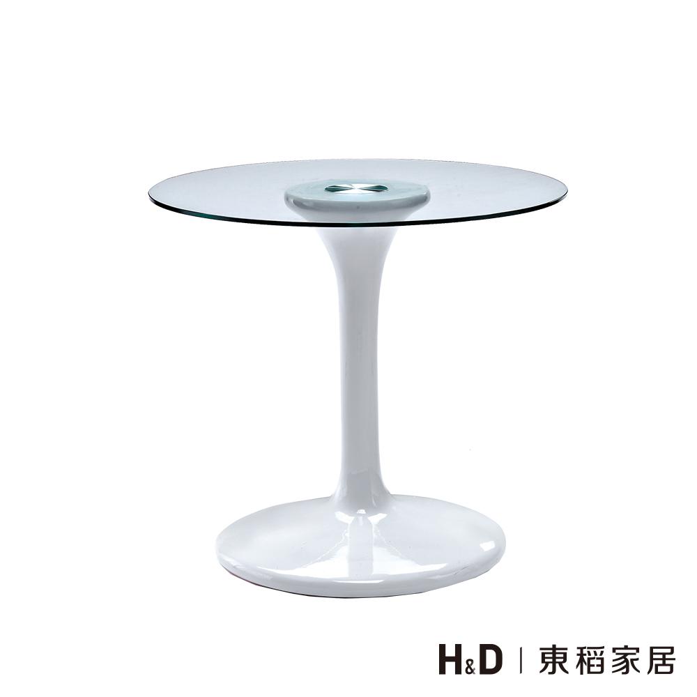 白色塑鋼造型玻璃圓桌
