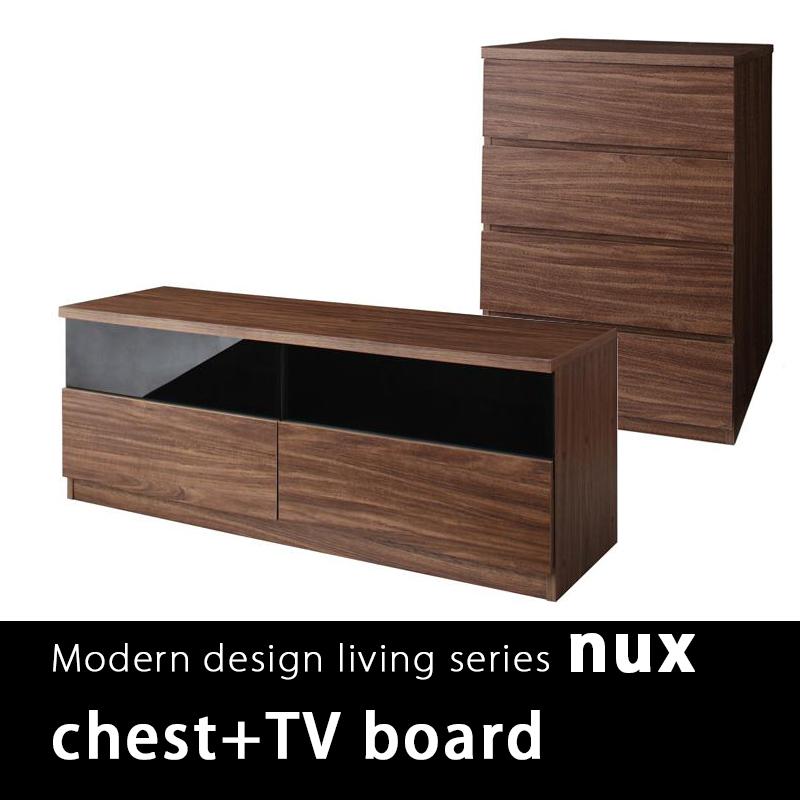 NUX日式簡約胡桃收納櫃組-四斗櫃+電視櫃2件組