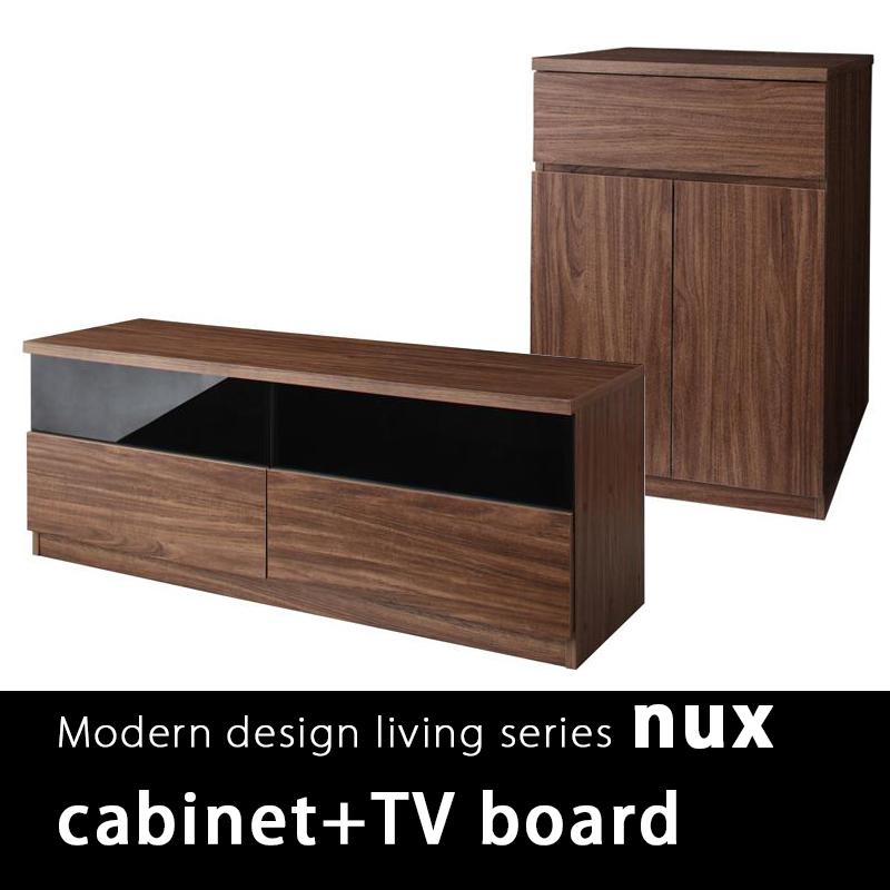 NUX日式簡約胡桃收納櫃組-收納櫃+電視櫃2件組