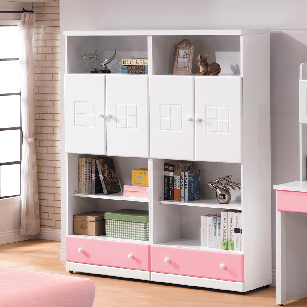 童話粉紅雙色5尺下抽雙門書櫃組