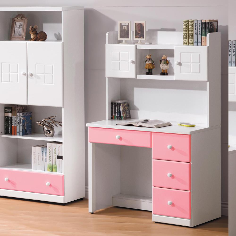 童話粉紅雙色3尺書桌組