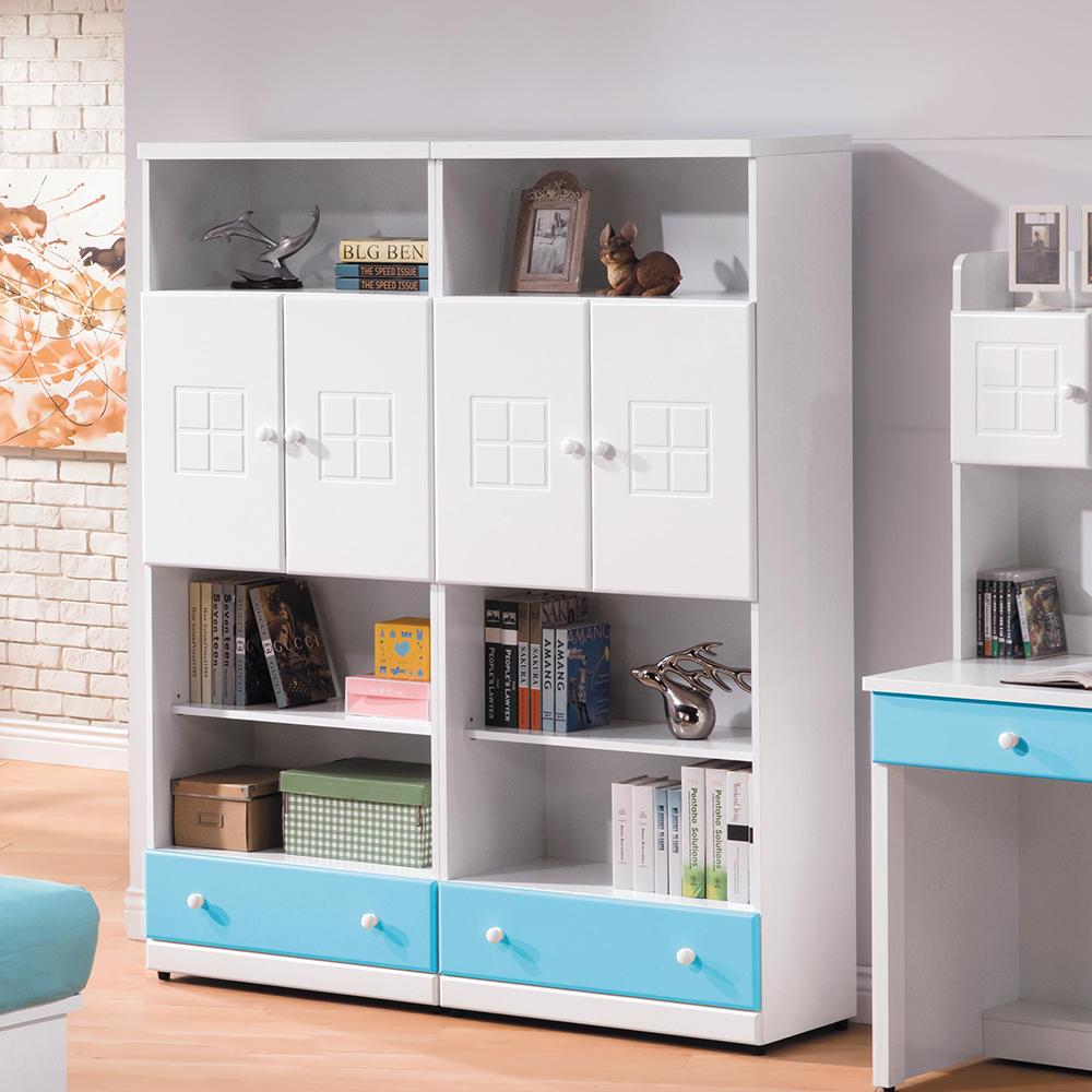 童話粉藍雙色5尺下抽雙門書櫃組