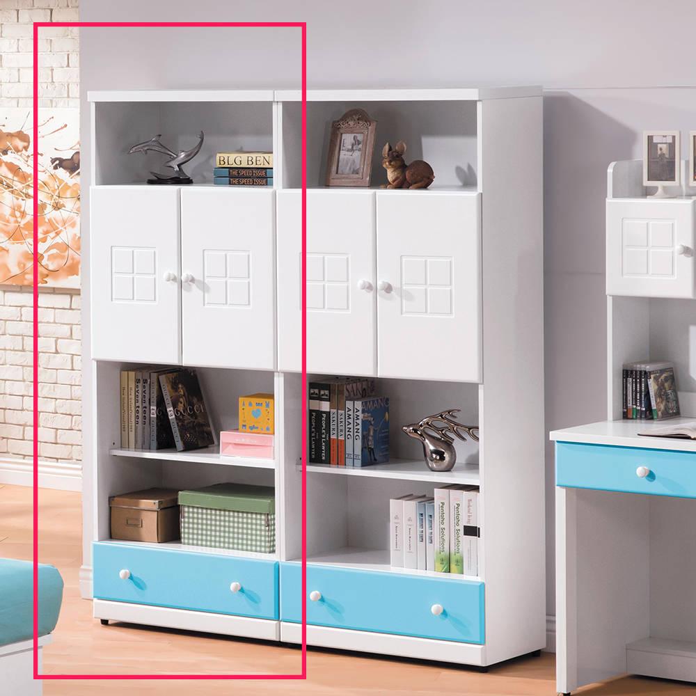 童話粉藍雙色下抽雙門書櫃