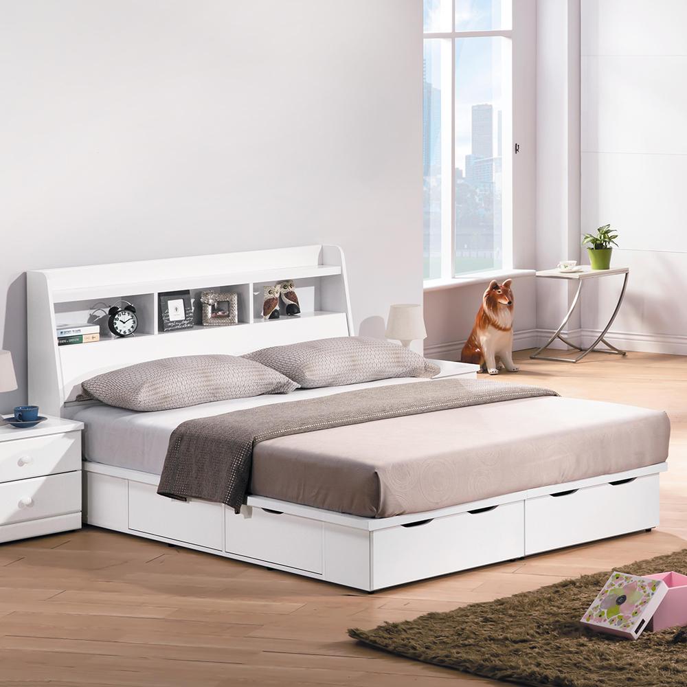 童話烤白色雙色5尺床組(床頭箱+床底)