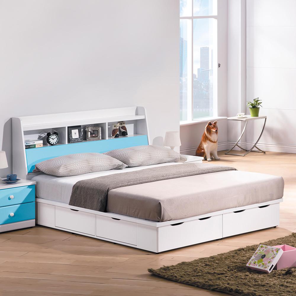 童話粉藍雙色5尺床組(床頭箱+床底)