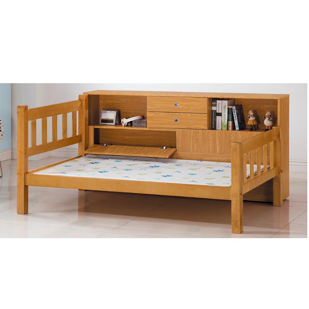 白木3.7尺床架(含床邊櫃x1)