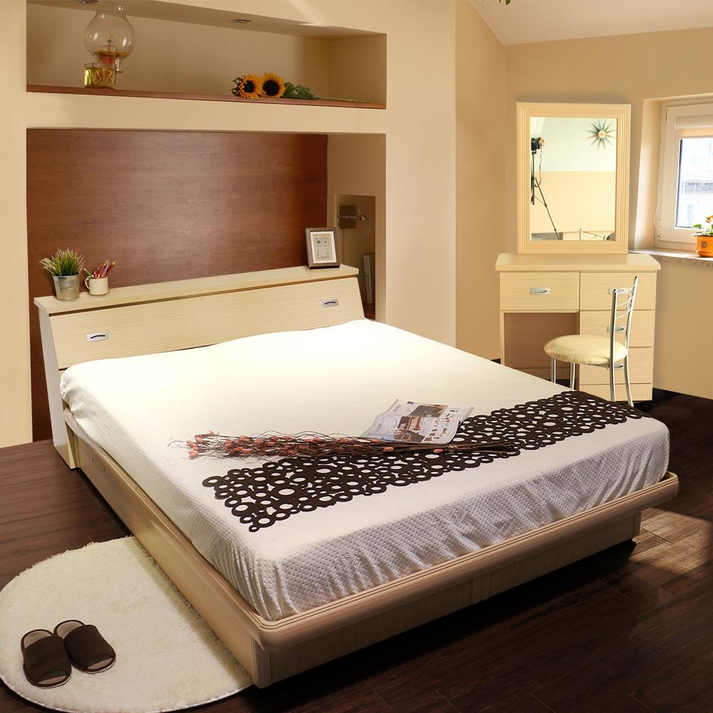艾莉森雙人5尺房間組4件組(床頭箱+掀床+鏡台+化妝椅)