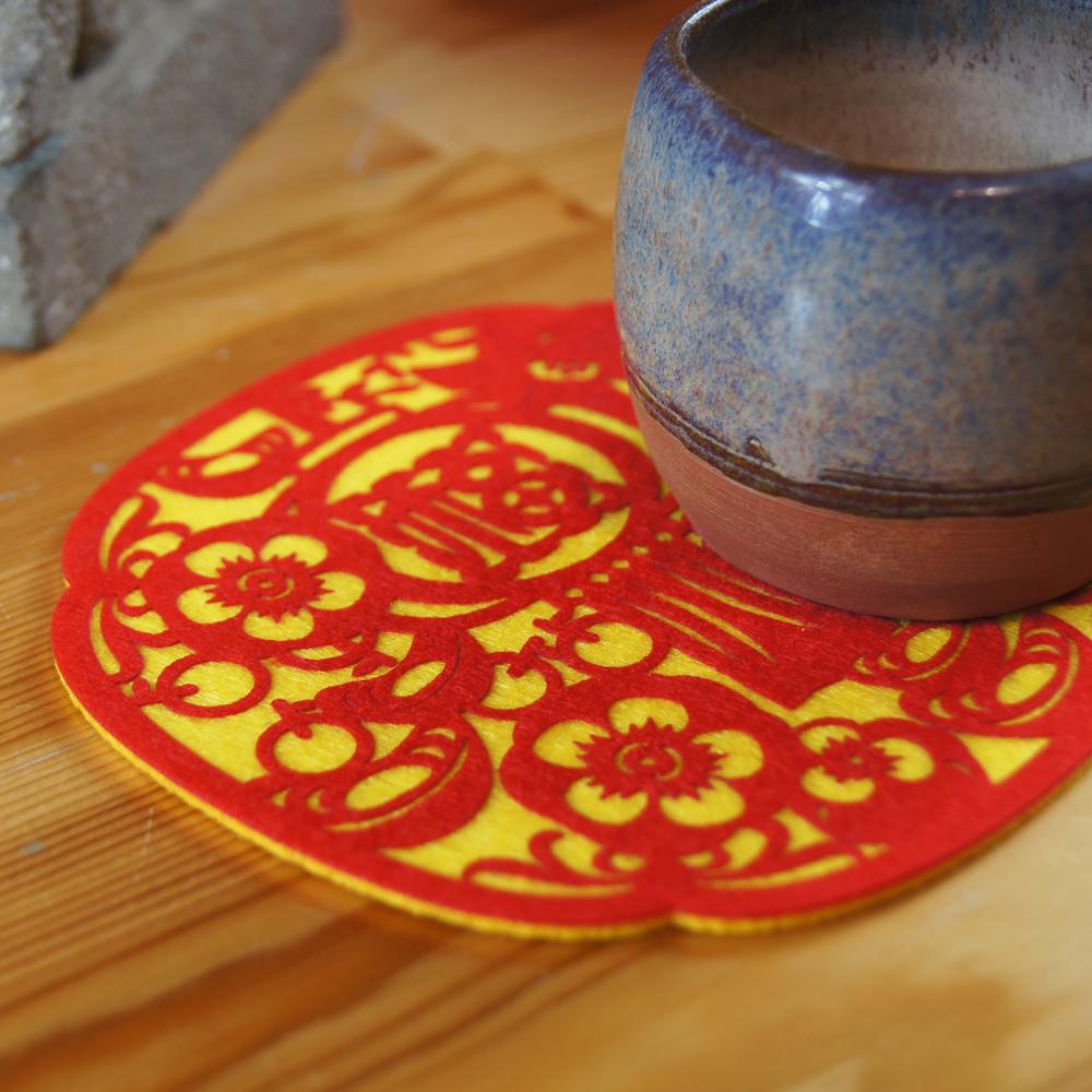 【福來許】納福系列杯墊-百柿大桔(福)