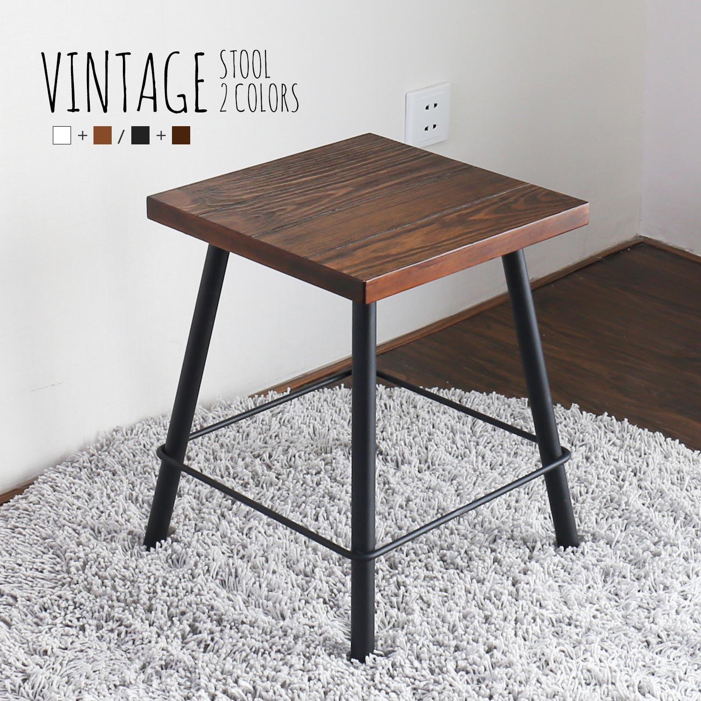日系工業風方型腳凳/餐椅-2色/Vintage