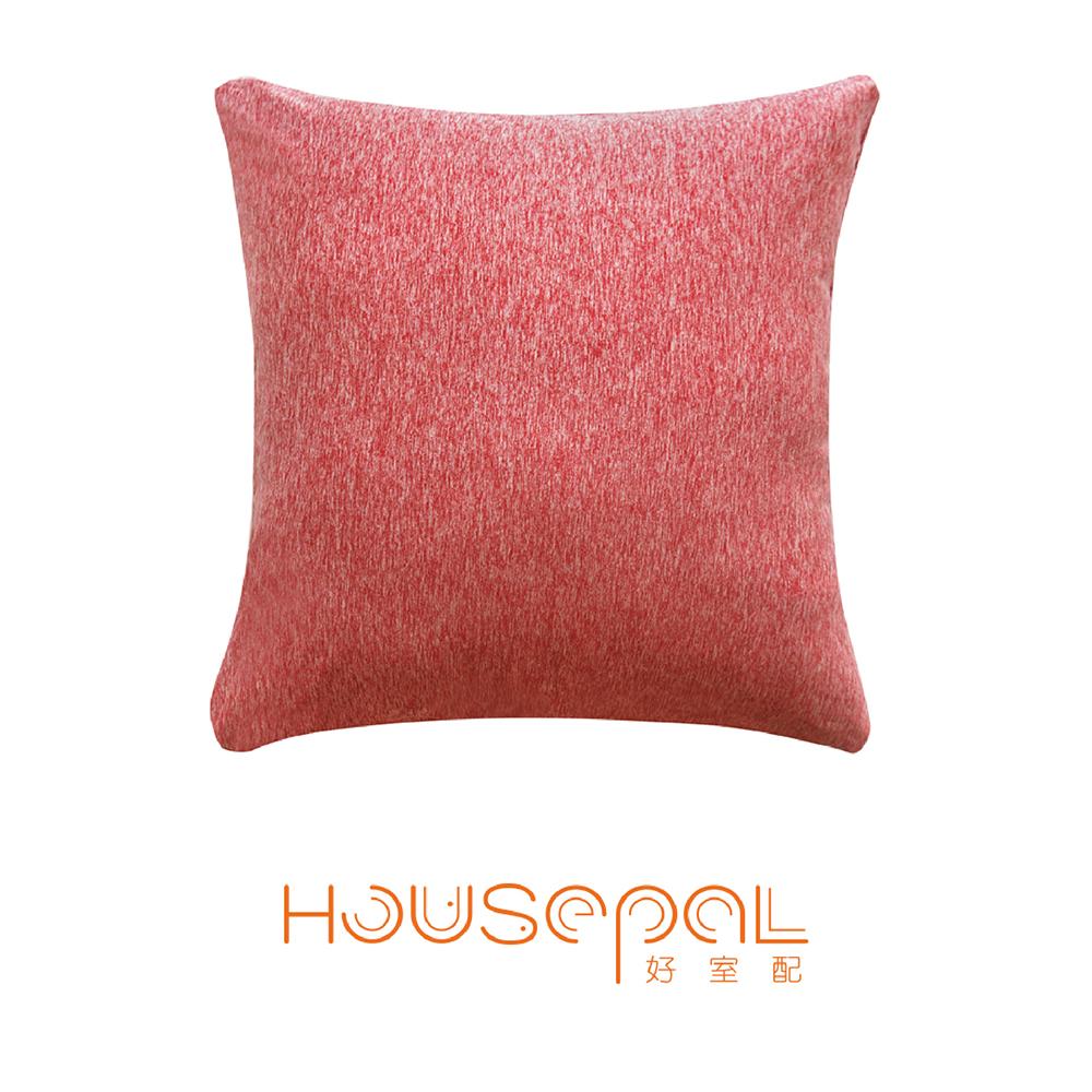 Zuri柔禮雙色平紋針織立體剪裁彈力沙發靠墊(抱枕用)(玫瑰紅)