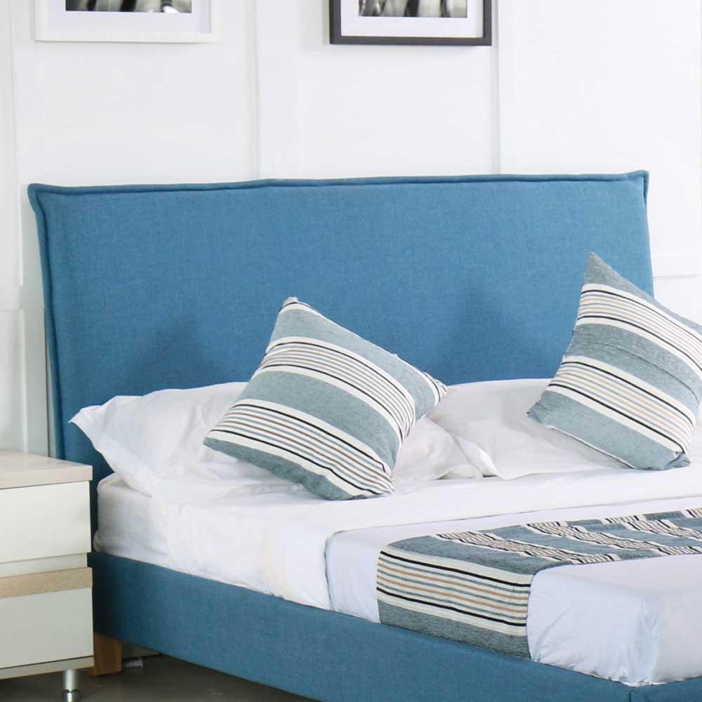 羅文5 尺寶藍色布雙人床頭片