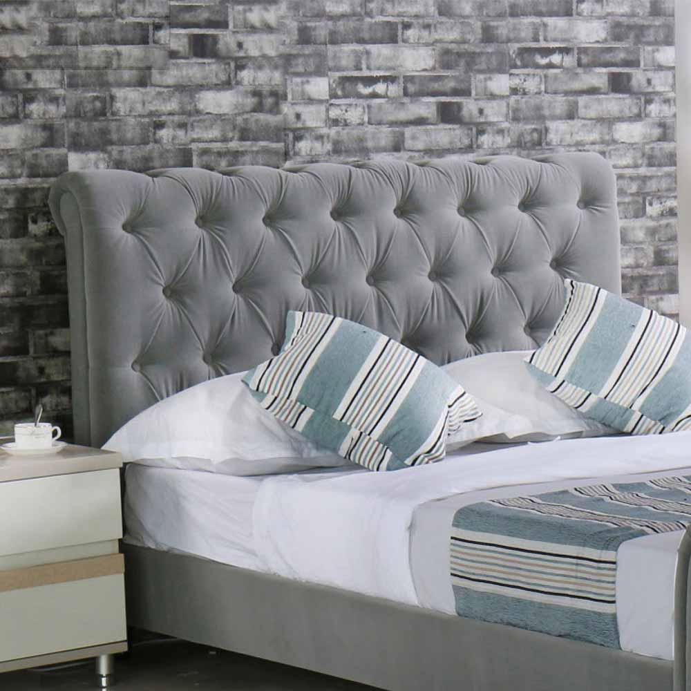 艾麗莎5 尺灰色布雙人床頭片