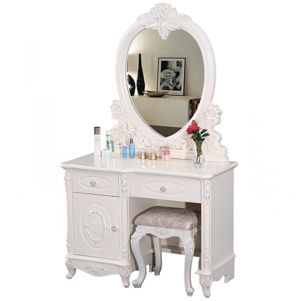 尤特拉3.4尺象牙白化妝鏡台組(含椅)