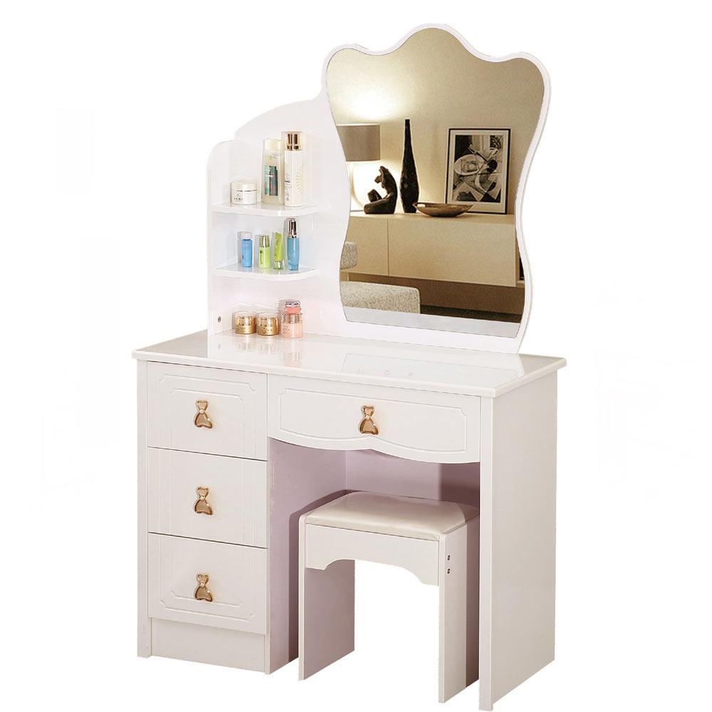 吉莉安3.3尺象牙白化妝鏡台組(含椅)