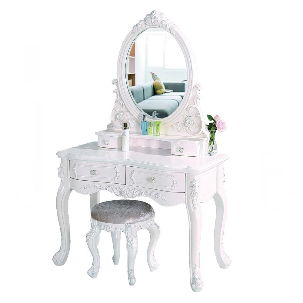克洛伊3.3尺象牙白化妝鏡台組(含椅)