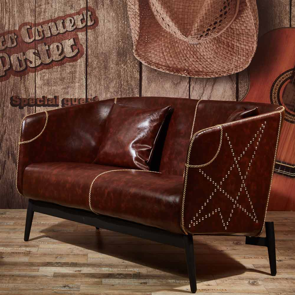 亞瑟工業風咖啡皮沙發─雙人座