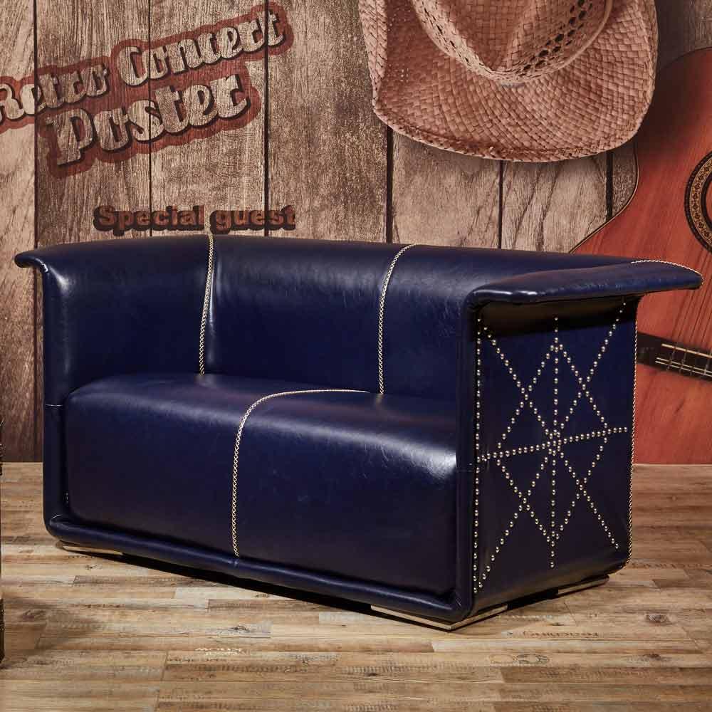 傑森工業風燦藍皮沙發─雙人座