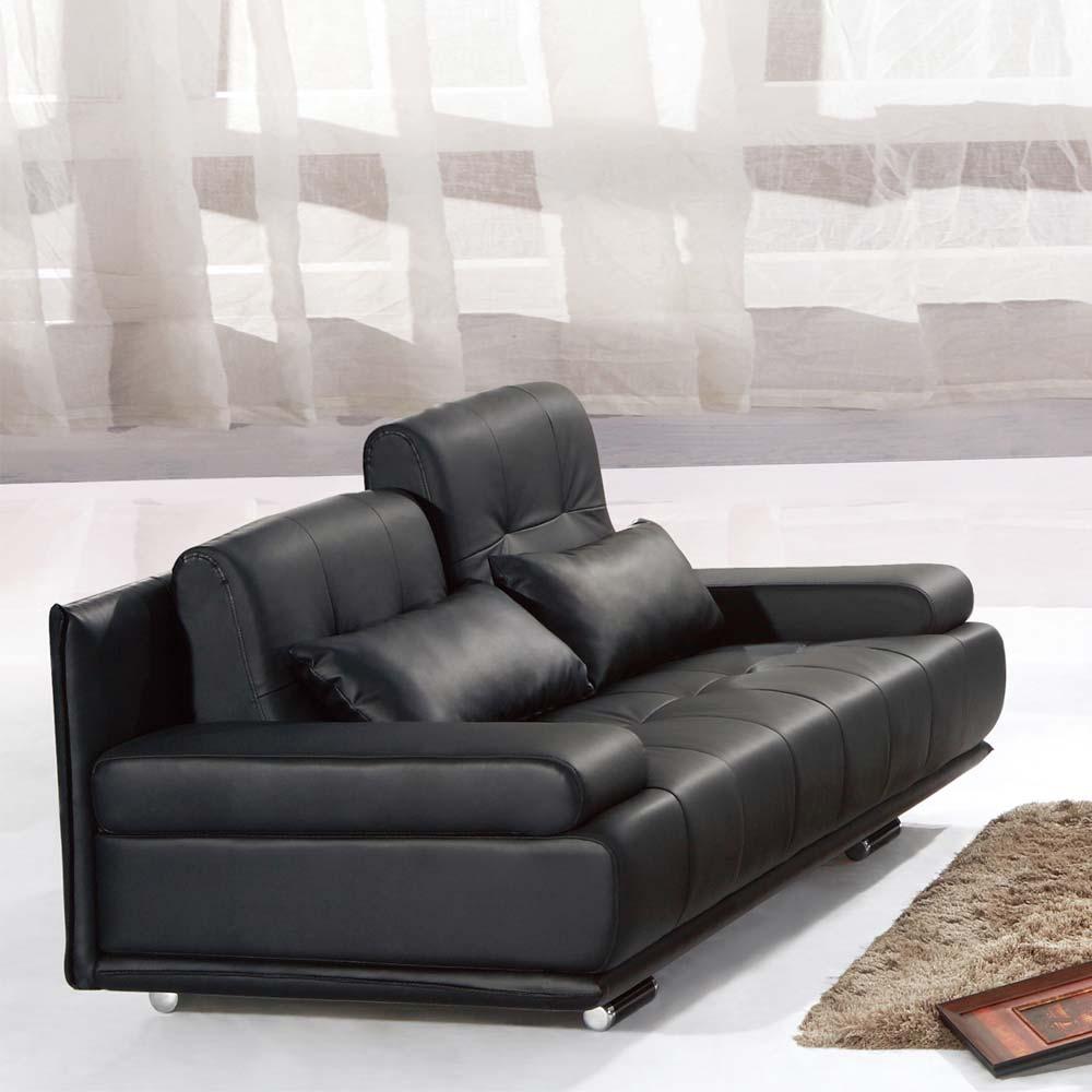 文森黑皮沙發– 雙人座